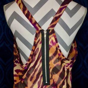 Lily White Orange Purple Tiger Print Flowy Top XL